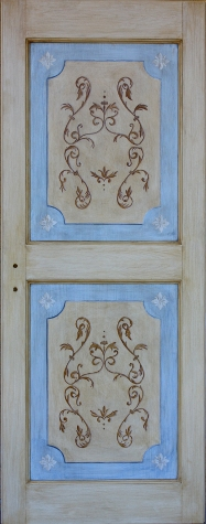 Porte decorate in legno massello per interni Porte decorate a mano ...